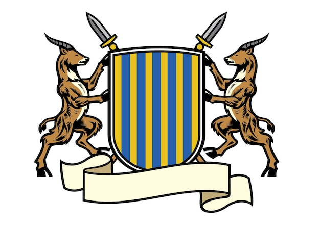 Antelope heraldry in classic coat of arms style
