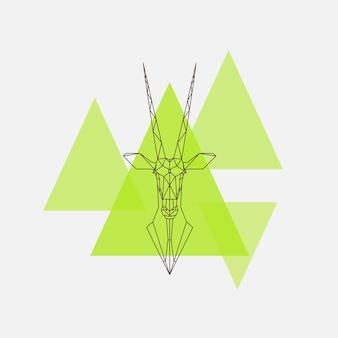 アンテロープオリックスの頭の幾何学的なラインのシルエット。ベクトルイラスト。