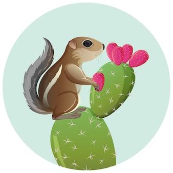 영양 다람쥐 서 있는 가시 선인장 흰색 배경에 고립