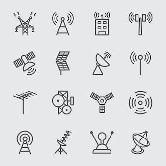 Antenna and satellite line icon
