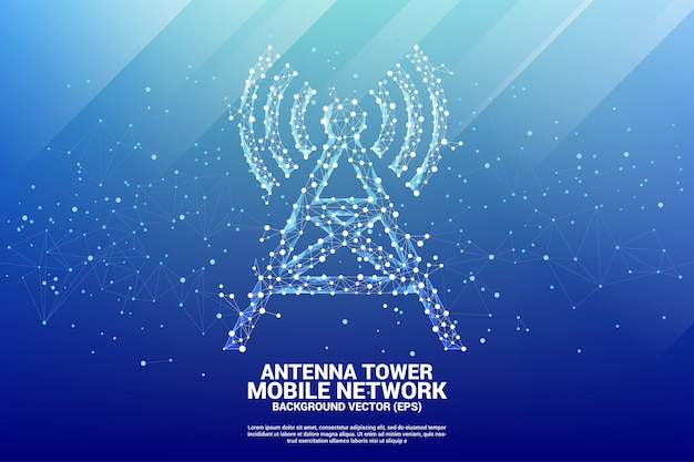 Antenna tower icon polygon style from dot and line connection.