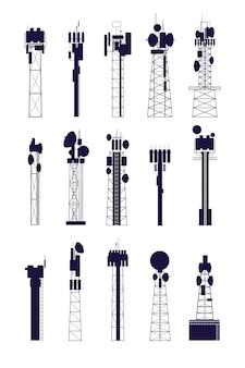 アンテナ塔のシルエット。隔離された通信機器、メディア無線通信構造。ネットワークベクトルセット。アンテナ放送通信、ネットワーク構築図