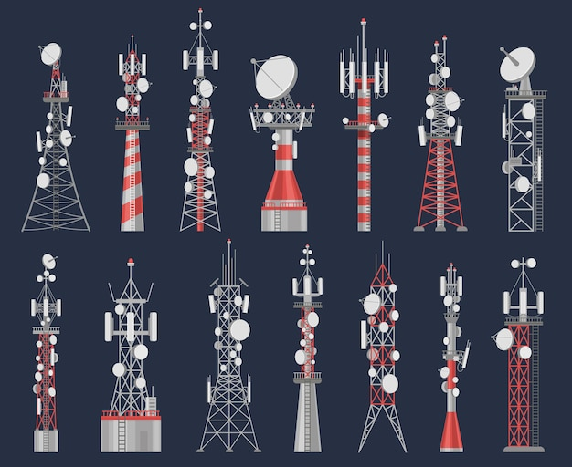 Antenna towers. radio tower station for cell communication with wireless signal. telecom network construction for mobile internet vector set. equipment for air connection, powerful station