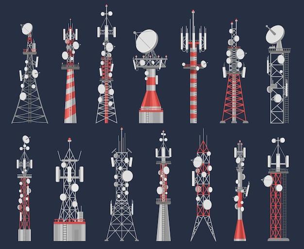 アンテナ塔。無線信号とのセル通信用の電波塔局。モバイルインターネットベクトルセットの通信ネットワーク構築。空気接続用機器、強力なステーション