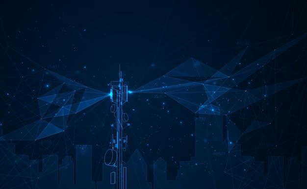 Антенна передачи связи башня фон концепция