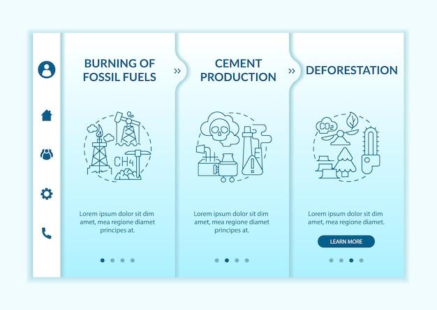 人為的炭素排出量のオンボーディングベクターテンプレート。アイコン付きのレスポンシブモバイルサイト。 webページのウォークスルー3ステップ画面。線形イラストと森林破壊、燃焼色の概念