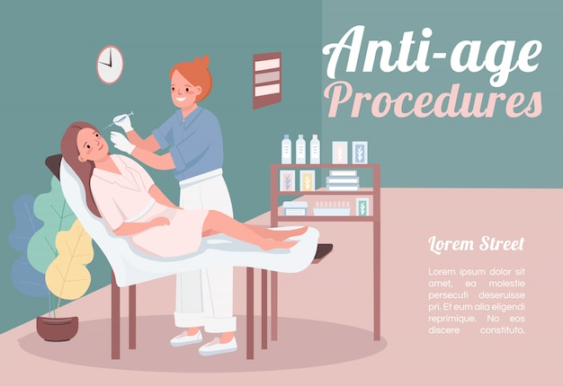 Anti-age procedures banner   template. brochure, poster concept  with cartoon characters. woman getting facial fillers. beauty salon horizontal flyer, leaflet with place for text