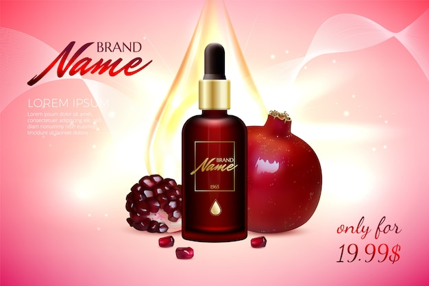 Anti-age serum, cream with pomegranate extract background template