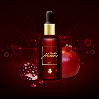 Anti-age serum, cream with pomegranate extract illustration