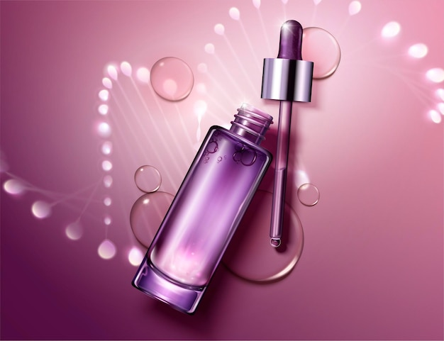 Anti aging cosmetic package design with glowing helix structure behind the bottles in 3d style, flat lay perspective