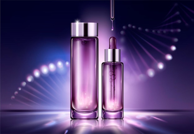 Anti aging cosmetic package design with glowing helix structure behind the bottles in 3d style