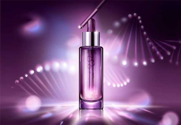 Anti aging cosmetic package design with glowing helix structure behind the droplet bottle in 3d style