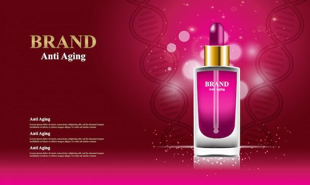 Anti-aging serum cosmetics advertising template