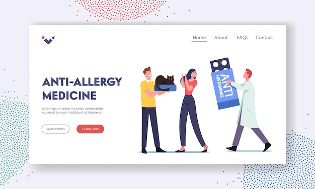Anti-allergy medicine landing page template. doctor character prescribe anti histamines to woman with allergy on cat fur. girl having asthma rhinitis to animal fur. cartoon people vector illustration