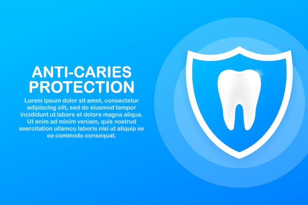Anti-caries protection. teeth with shield icon design. dental care concept. healthy teeth. human teeth.