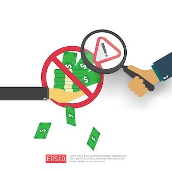 Анти-коррупция, стоп и коррумпированное снижение концепции. бизнес взятки с деньгами в конверт и запрет предупреждающий знак. иллюстрация в плоском стиле для баннера, фона и презентации