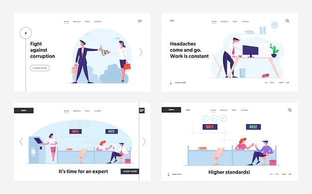 Anti corruption working burnout and banking service landing page template