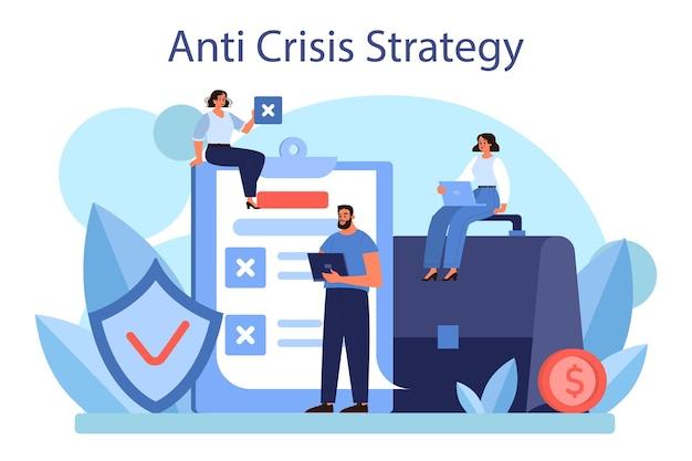 Концепция антикризисной стратегии. изолированная плоская иллюстрация