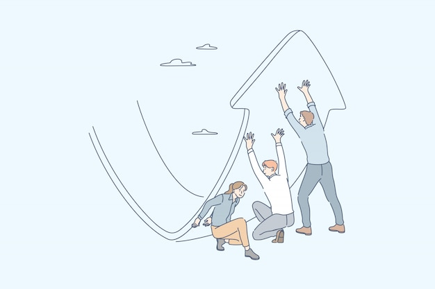 Anti crisis strategy, investment management, raising profit, business concept