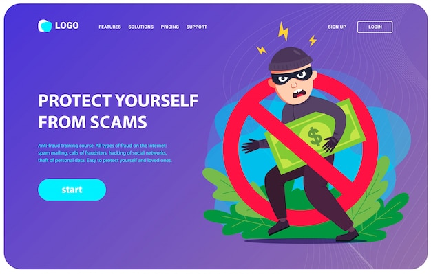 Anti-fraud landing page. a thief steals your money. flat character vector illustration.