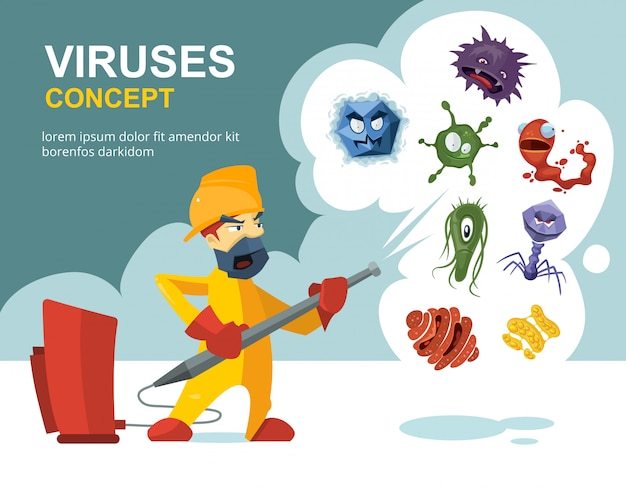 Anti germs microbes vector sanitation concept