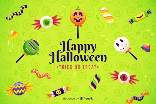 Anti-gravitational candies halloween background