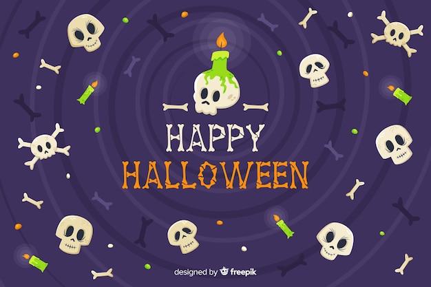 Anti-gravitational skulls halloween background