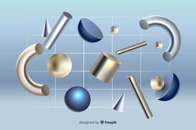 Anti-gravity geometric shapes 3d effect
