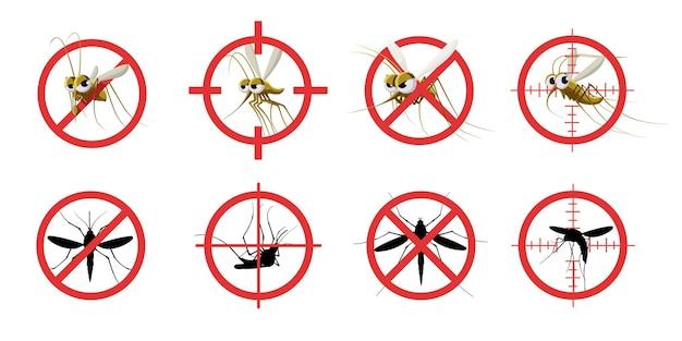 안티 모기 기호. 정보 제공 빨간색 금지 모기 표적, 신호 중지 모기 물린 위험한 감염, 위생 관리.
