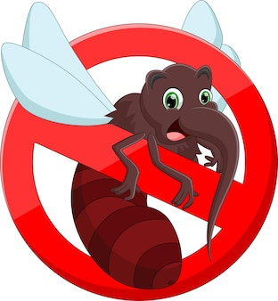 Anti mosquito sign with cute cartoon mosquito