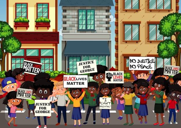 거리에서 반 인종 차별 시위대