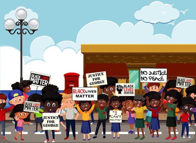 通りでの反人種差別抗議者