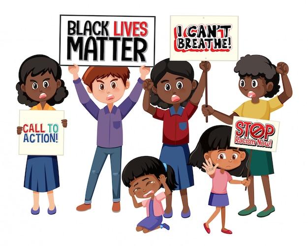 白い背景の上の反人種差別抗議者