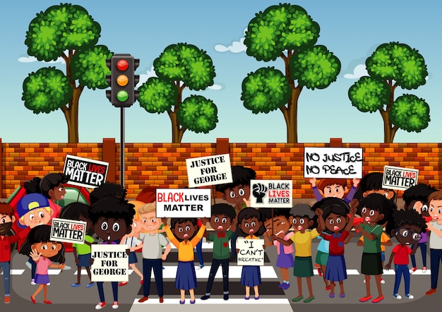 Anti-racism protesters at the street