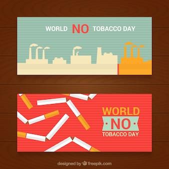 Баннеры против курения в плоском дизайне