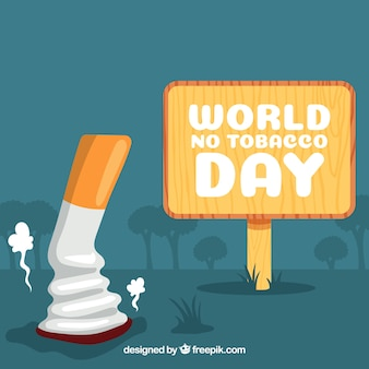 Anti-smoking day background with cigarette off