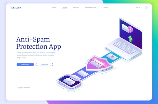Anti spam protection app isometric landing page with laptop and envelopes spyware cyber security antivirus application