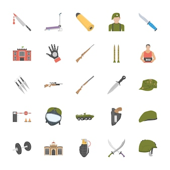 Anti terrorism equipments and persons icons