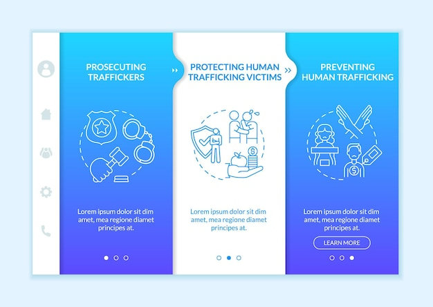 Anti-trafficking measures elements onboarding vector template. responsive mobile website with icons. web page walkthrough 3 step screens. anti slavery measures color concept with linear illustrations