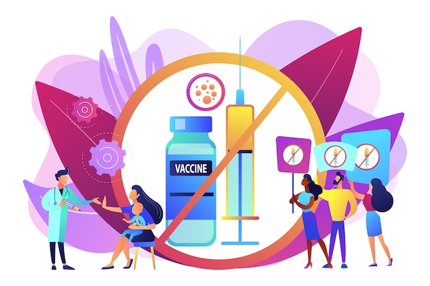 Anti-vaccination protest, people rejecting preventive medicine. vaccine refusal, mandatory immunization, vaccination hesitancy concept. bright vibrant violet  isolated illustration