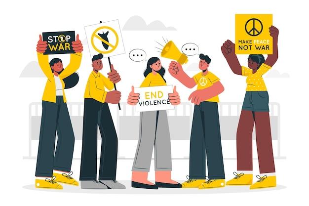 Illustrazione di concetto di protesta contro la guerra