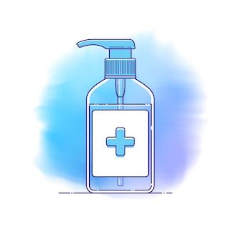 抗菌アルコールハンドジェルディスペンサーラインアイコン。手指衛生のための医療用外科用消毒剤のベクターテンプレートボトル、感染予防のインフォグラフィック、パンデミック、コロナウイルスの流行。