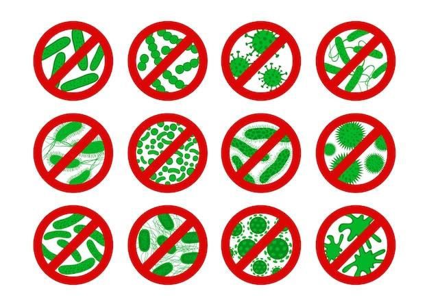 抗菌および抗ウイルス防御のアイコン。バクテリアやウイルスの禁止標識を止めてください。防腐剤。白い背景で隔離のフラットスタイルの緑の胚芽。ベクトルエンブレム。