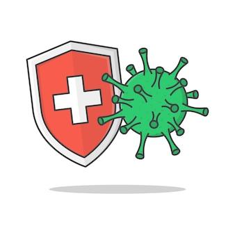 항균 또는 안티 바이러스 방패 보호 벡터 아이콘 그림. 코로나 바이러스 보호 평면 아이콘