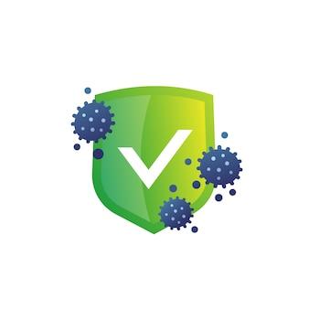 Значок антибактериальной защиты, щит и бактерии