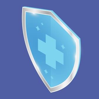 抗菌消毒剤または防腐剤ラベル。抗菌性、耐性バッジ。保護の等尺性シンボル。シルバーのトリムが付いた青い光沢のあるシールド。クロスサイン付き医療保護シールド。ベクター