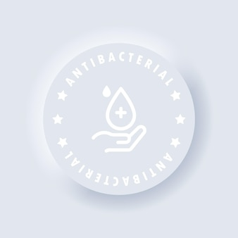Antibacterial soap icon or antiseptic gel label. vector. hygiene product icon. hand with drop. toilet bath gel cleaner antibacterial. neumorphic ui ux