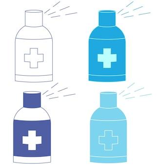 抗菌スプレー。手指消毒剤ディスペンサー。感染管理の概念。風邪、ウイルス、コロナウイルス、インフルエンザを防ぐための消毒剤。防腐剤。青い色のアルコール液の入ったボトル。ベクター