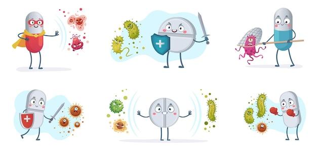 Антибиотики борются с бактериями и вирусами. таблетки сильных антибиотиков с щитом защищают от бактерий, набор иллюстраций шаржа медицинских таблеток против вирусов.