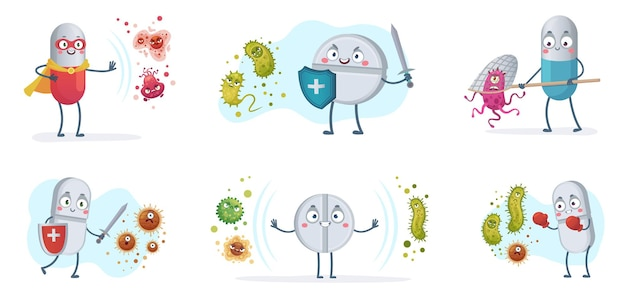 Antibiotic fight bacteria and virus. strong antibiotics pills with shield protect from bacterias, medical pill vs viruses cartoon illustration set.